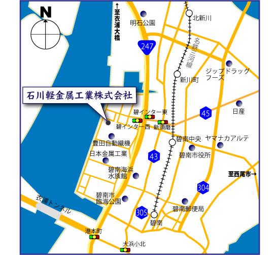 地図 アルミ鋳造 切削加工 愛知県